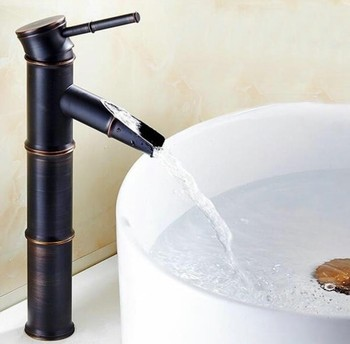 Black Oil Rubbed Brass Bamboo Style Single Handle Lever Bathroom Deck Mounted Faucet Vessel Sink Basin Mixer Tap anf053