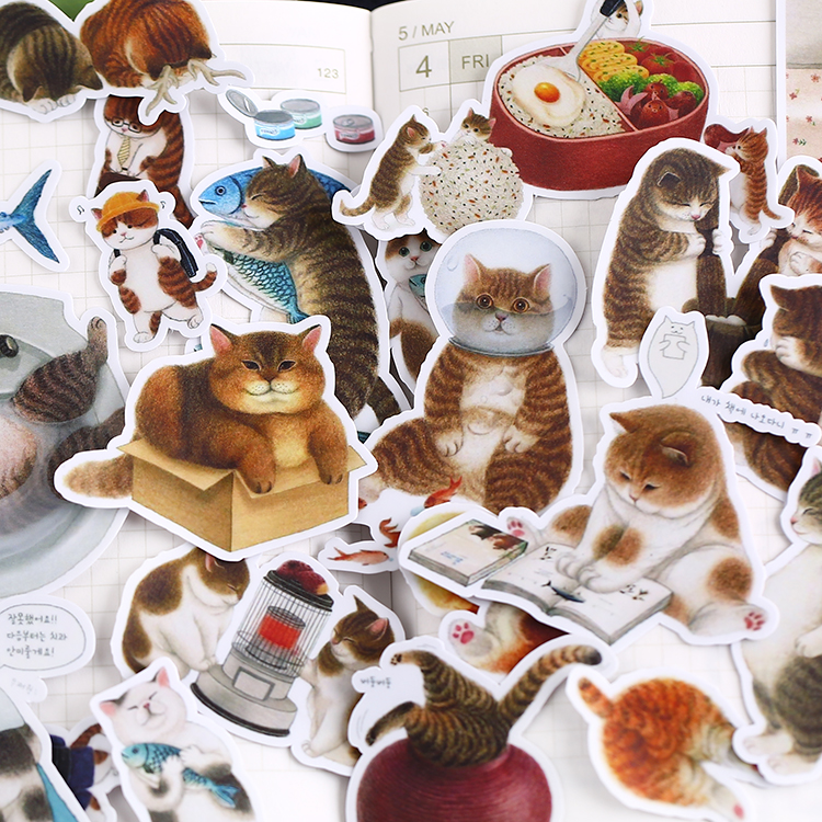 18pcs Cute Daily Cat Stickers Flakes For Car Decoration Diy Hand-drawn Comics Girl Schoolboy Scrapbooking Children Sticker