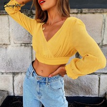 Simplee V neck sexy crop top women Backless button up flare sleeve solid short top 2018 Summer ruffle ruched casual tank tee(China)