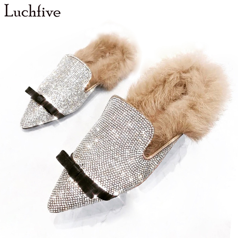 Flat Shoes women Rhinestone cozy warm fur mules Crystal Embellished Lazy outdoor beach slippers for ladies bowties flipflops stunning embellished rhinestone bracelet for women