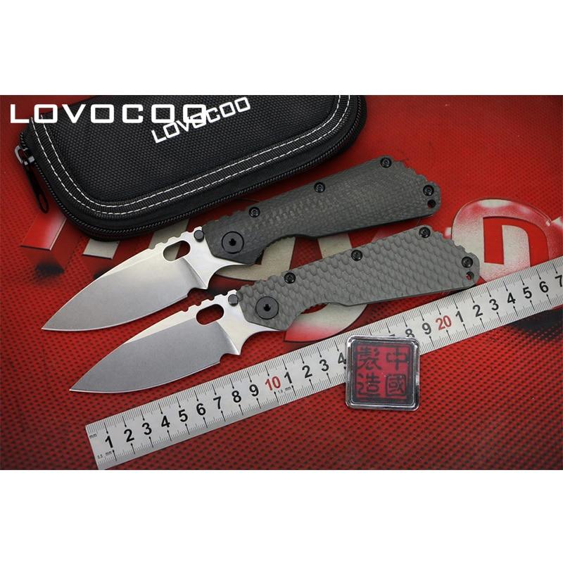 LOVOCOO ST SMF Flipper folding knife D2 blade Carbon fiber Titanium handle Outdoor camping hunting pocket