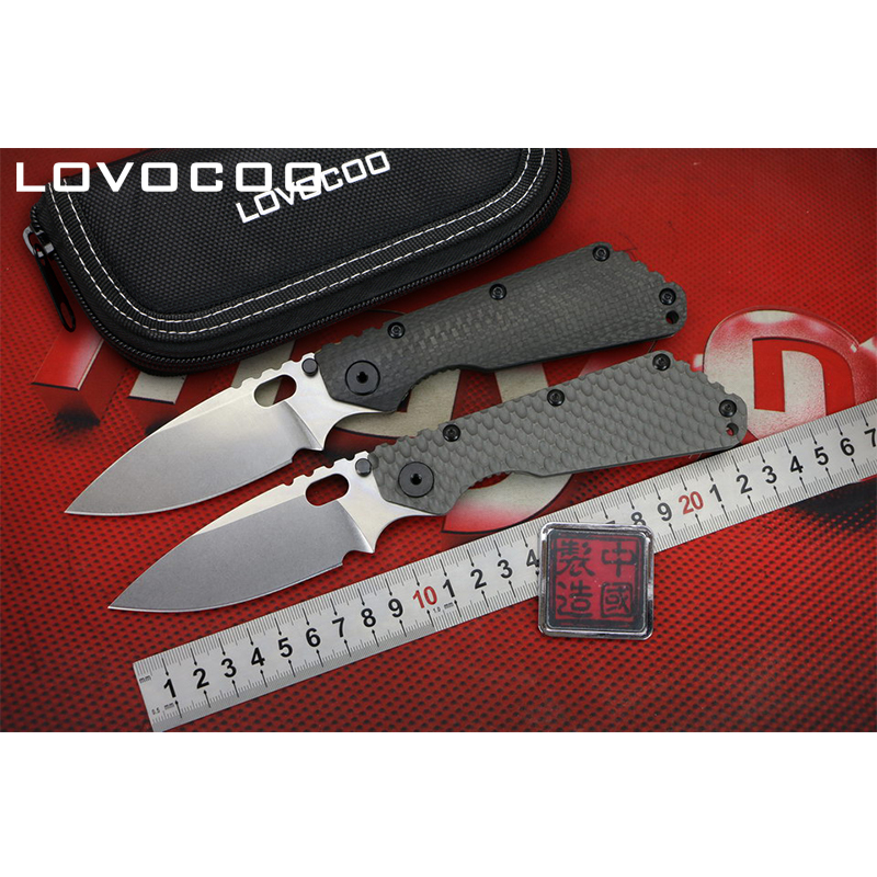 LOVOCOO ST SMF Flipper folding knife D2 blade Carbon fiber & Titanium handle Outdoor camping hunting pocket knives EDC tools-in Knives from Tools    1