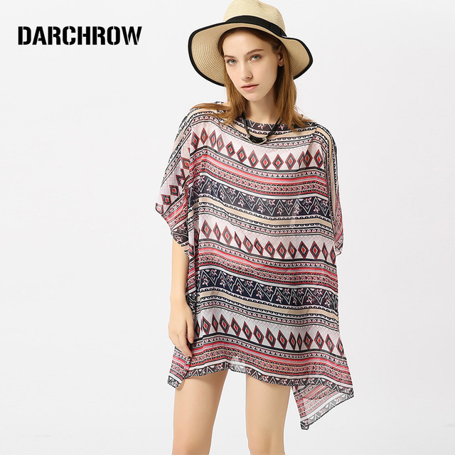 d0900e8c2 US $9.1 29% OFF|DARCHROW Geometric Print Bohemia Tops Women Casual Short  Sleeve Sexy Blouse 2018 Summer New Beach Boho Bikini Blouse-in Blouses & ...