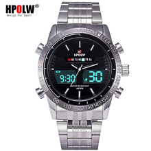 LED Quartz Digital Watches Luxury Military HPOLW Sport Watch Men Black Dual Time Date Alarm Steel Band Relogio Masculino