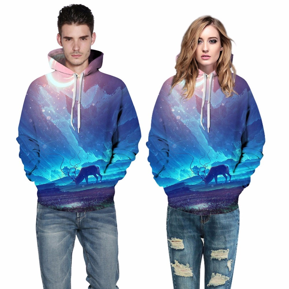 3D Printing Sportswear blue sky Sweat shirts Hooded Men/Women Couple With Hat Autumn Winter Loose Thin Hoody 2017 Newest
