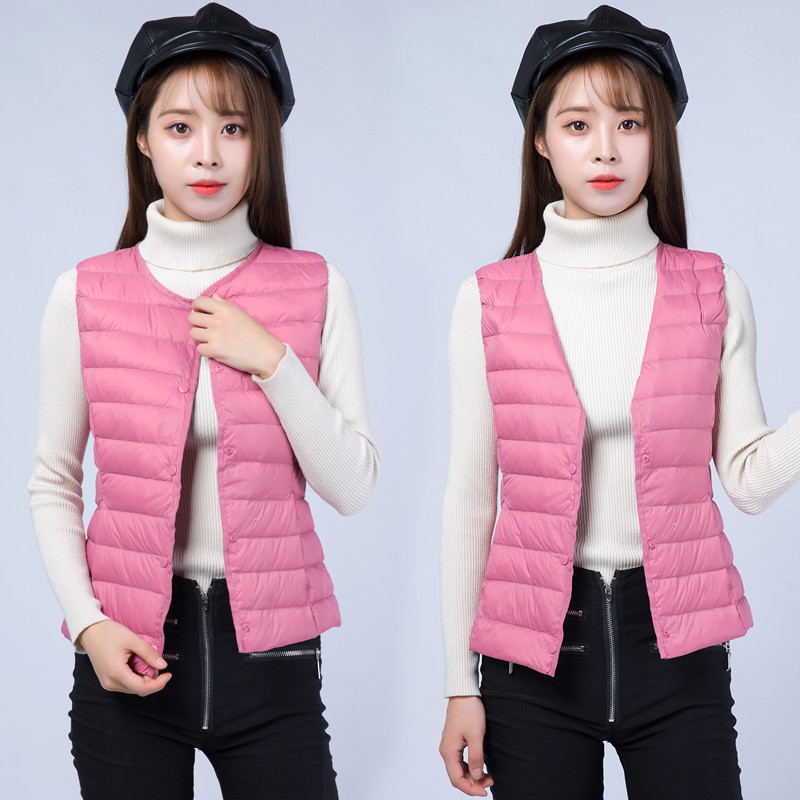 Two Wear Autumn Winter Women Sleeveless Jacket Ultra Light White Duck   Down   Vest   Coat   Female Short Waistcoat Plus Size 4XL AB1084