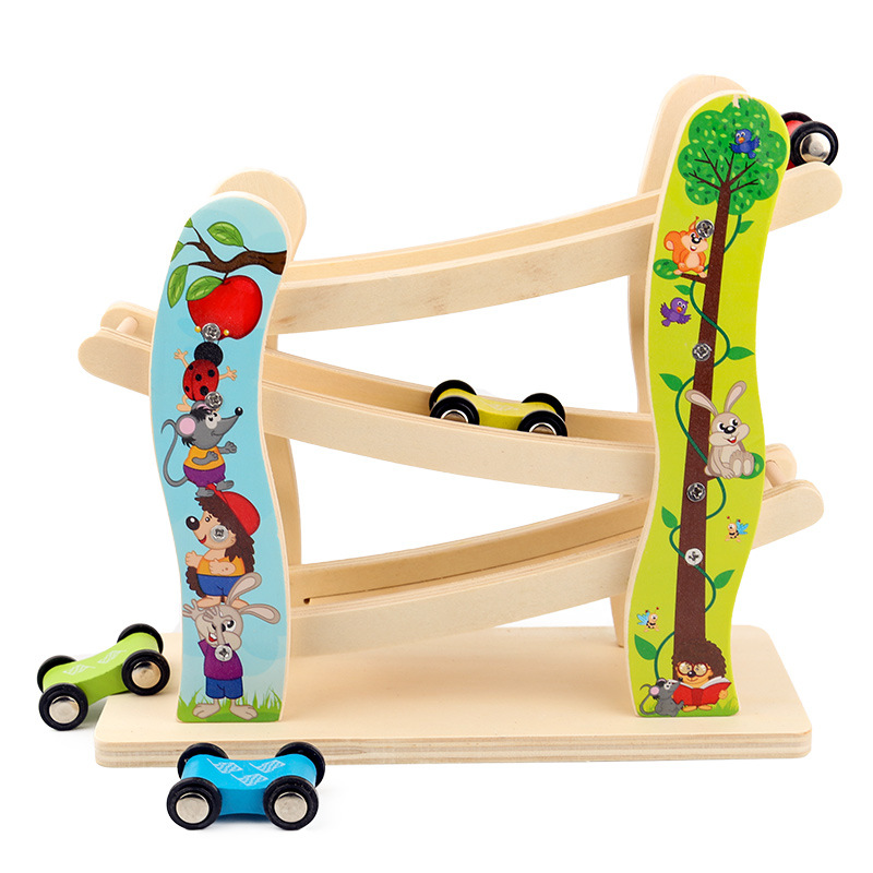 Child Glider Inertial Orbit Pulley with 3 Cars Wooden Track Building Blocks Baby Cartoon Juguetes Educativos Ladder Gliding Toys