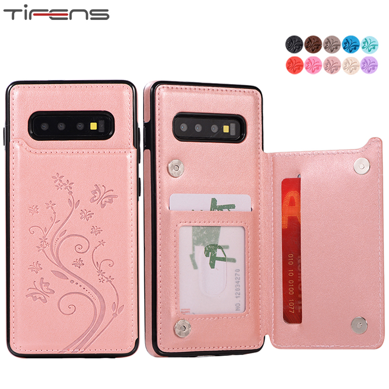 Mujer Leather Card Stand Cover Note10plus S10plus Case For Samsung Galaxy S7 Edge S8 S9 S10 Plus Note 8 9 10 Coque Shell Casing