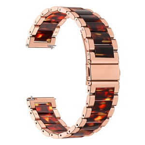 Image 2 - Stainless Steel & Resin Watchband for Samsung Galaxy Watch 42mm Active Active2 44mm 40mm Quick Release Band Women Strap RoseGold