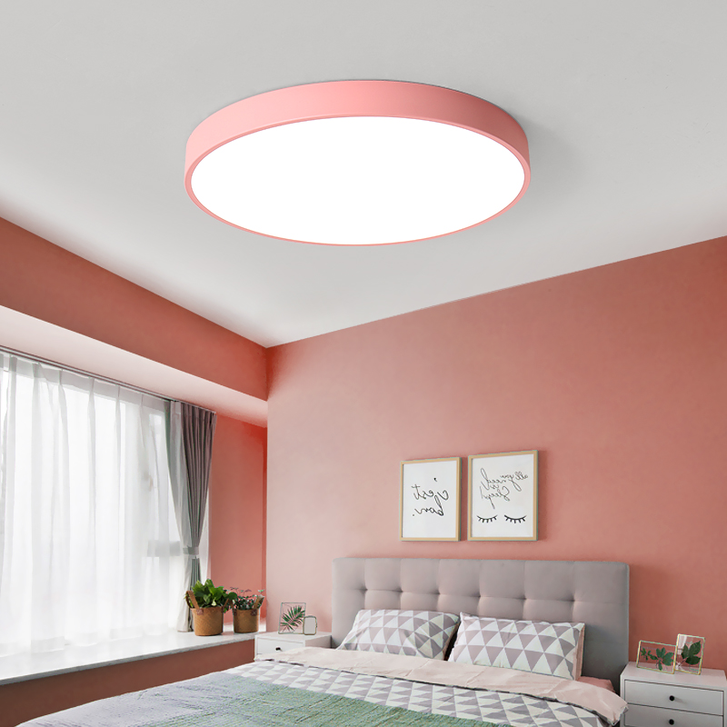 Ultra Thin Round White/Black Modern LED Ceiling Light simple ...