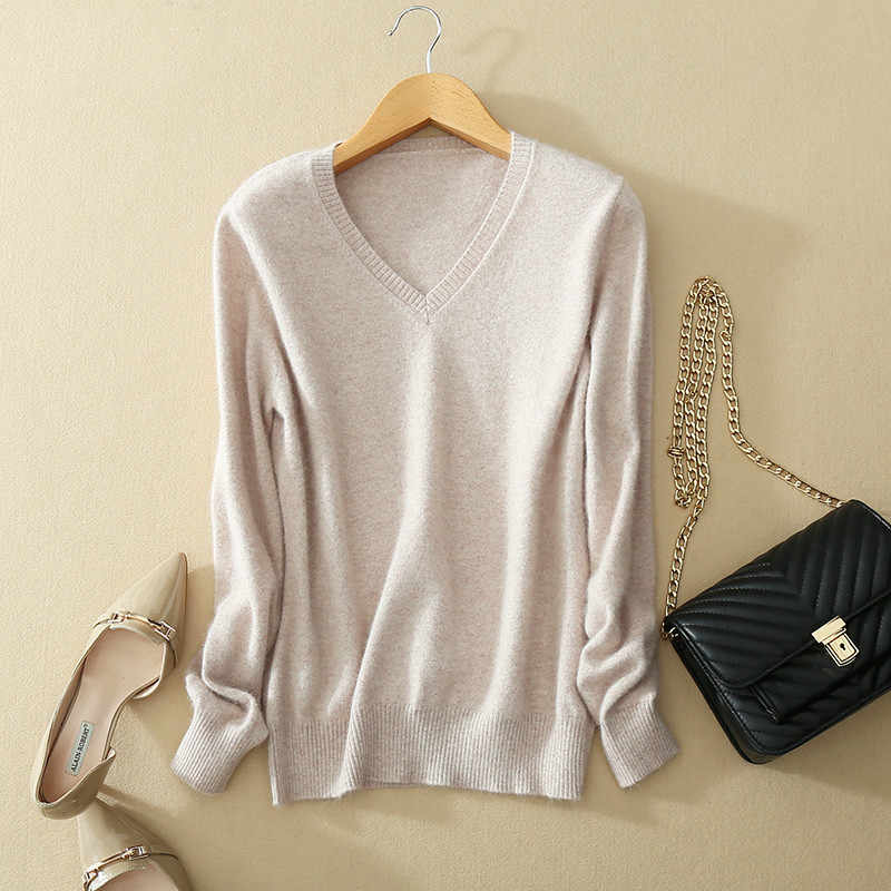 JINJIAXIAN 2018 Spring New Women's Sweater V-Neck Cashmere Sweater Pullover Women's Pure Wool Sweater S-XXXL