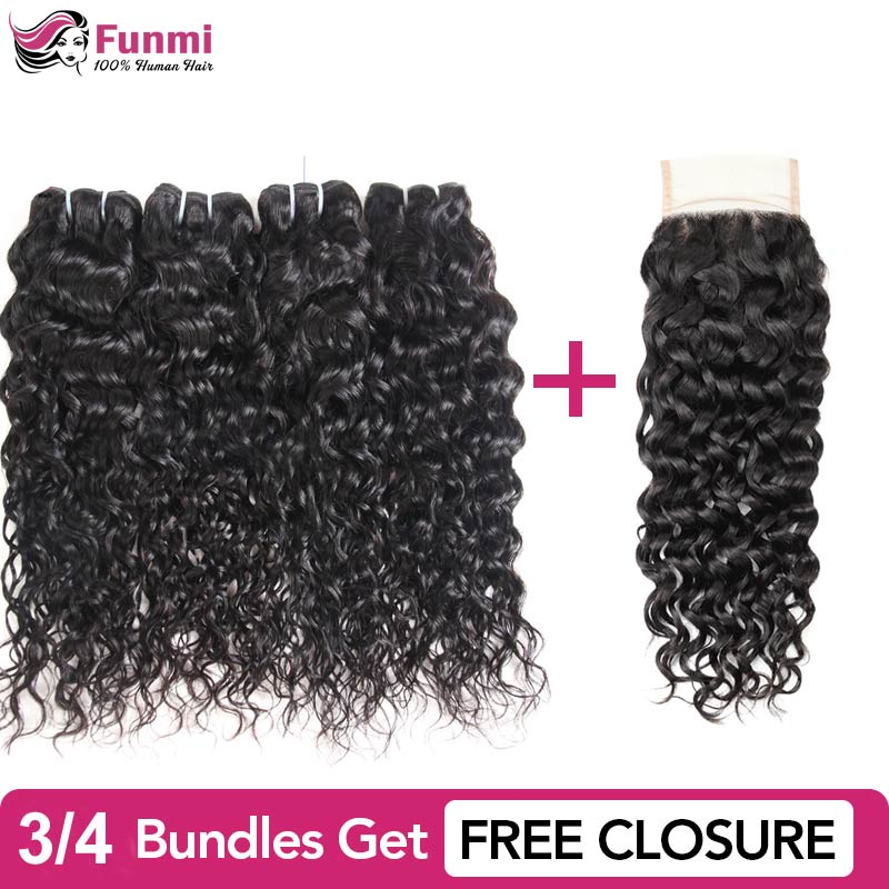 Buy Water Wave Bundles Get With Free Closure Funmi Malaysian Hair Bundles Funmi 100% Unprocessed Virgin Human Hair Bundles(China)