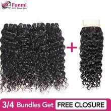 Купить пучки волн воды получить с бесплатным закрытием Funmi Связки малайзийских волос Funmi Необработанные девственные человеческие пучки волос