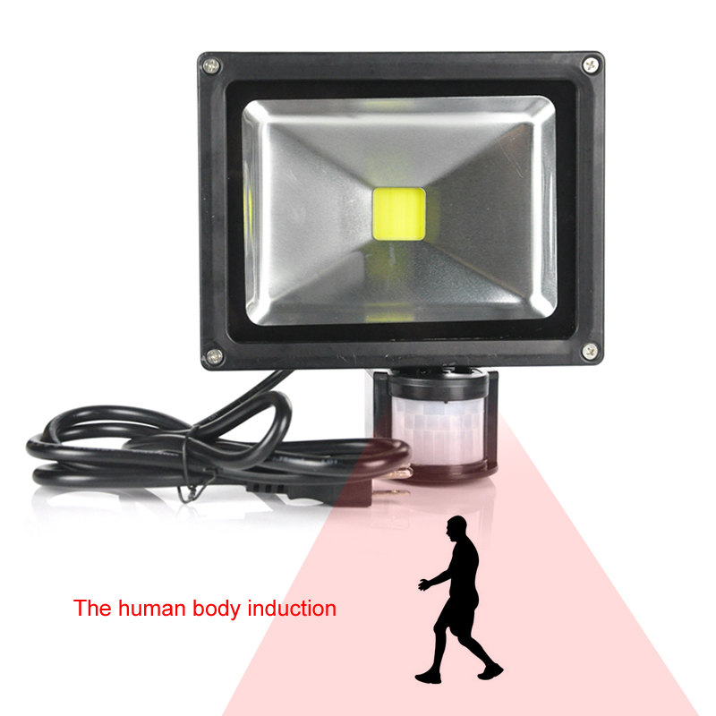 BORUIT Portable LED Floodlight With Sensor 20W 30W Infrared Human Body Automatic Induction Outdoor Spotlight Garden Light
