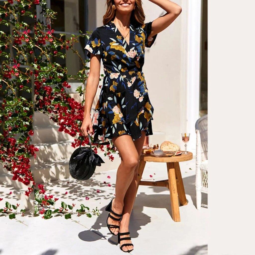 2019 New Women's Casual Short Sleeve Flower Print Bandage Butterfly Hem Loose Dress 12.27