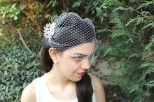 Birdcage Veil with Crystals Bridal Rhinestone Head Piece Blusher