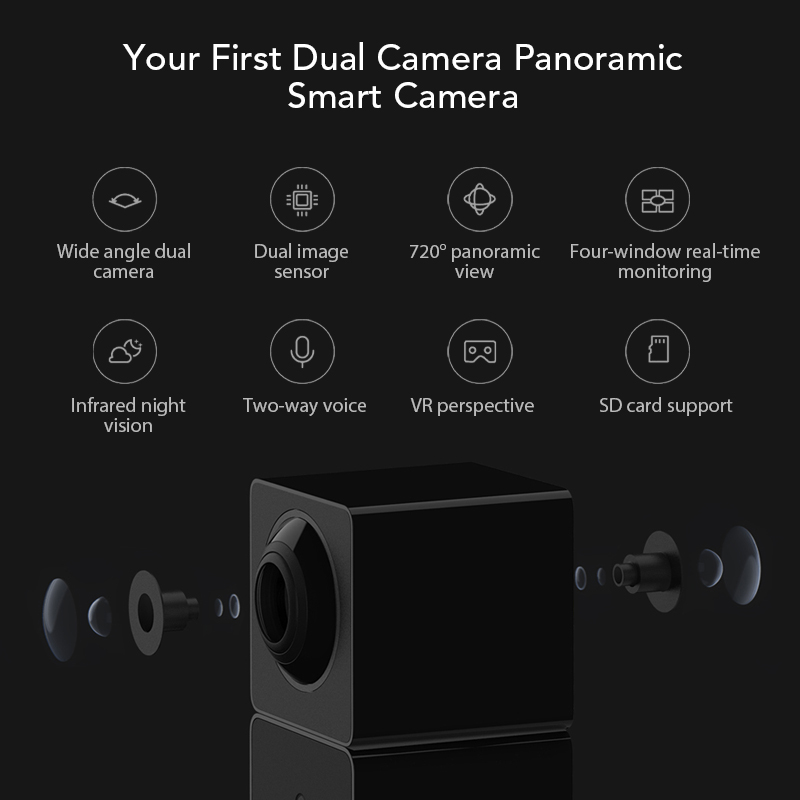 Image 3 - Xiaomi Xiaofang Camera Dual Lens Version Panoramic Smart Network IP Camera Four Screens in One Window Two way Audio Support VR-in Surveillance Cameras from Security & Protection