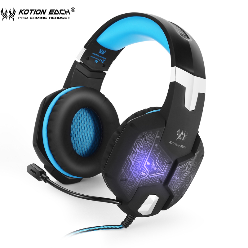 Gaming Hörlurar KOTION ELLER G1000 PC Gamer Headset Over Ear Noise Lsolating Andning LED Lights Hörlurar med mikrofon