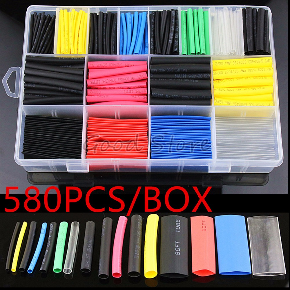 580 pièces assortiment électronique 2:1 Wrap fil câble isolé polyoléfine thermorétractable Tube Ratio Tubes isolation thermorétractable Tubes