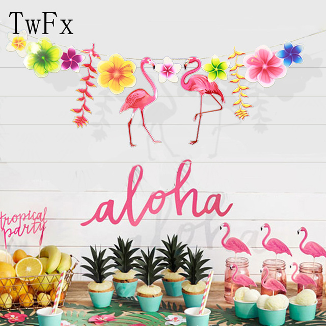twfx paper flower with flamingo tropical theme party birthday