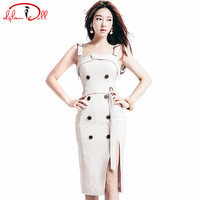 Solid Strap Vestidos Women Sexy Sleeveless Double Breasted Slit Knee-Length Midi Pencil Daily Summer Dresses 2017