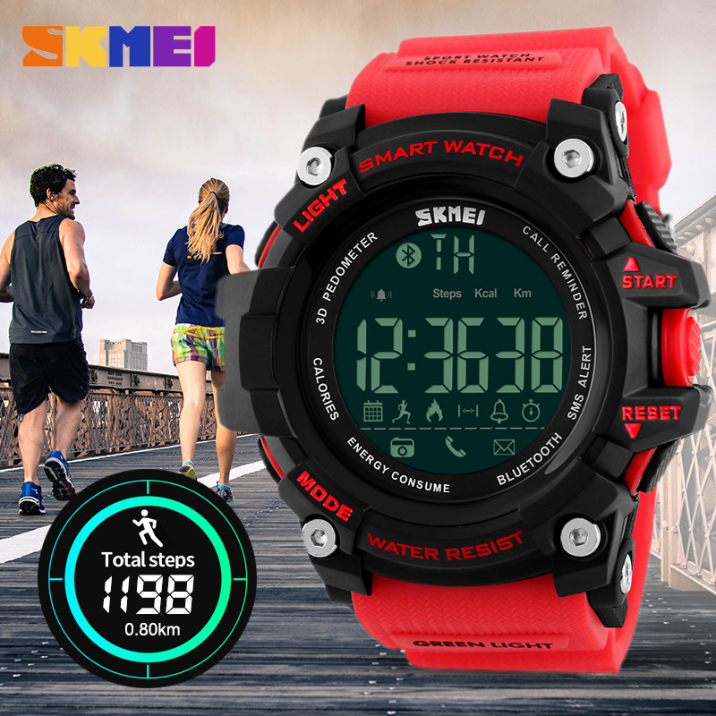 SKMEI Men Smart Watch Android IOS Remote Camera Outdoor Pedometer Sports Watches Smartwatch Call SMS Reminder