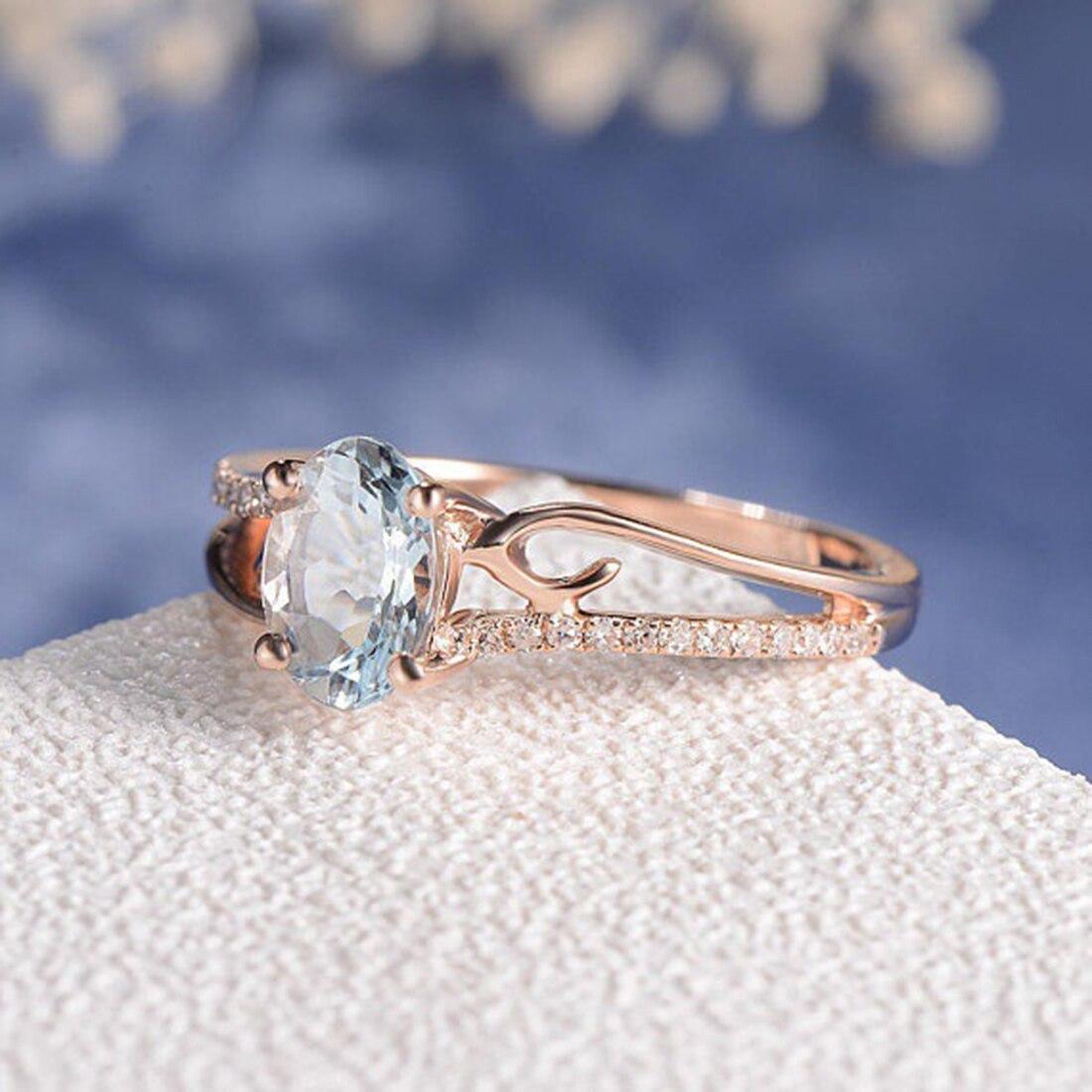 2018 Neue Blau Stein Ring Rose Gold, Verlobung, Hochzeit Ringe Für Frauen Mode Schmuck