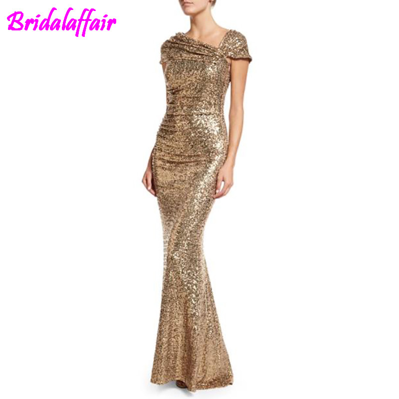 galajurk zwart Latest design fish cut gown sexy long sequin prom evening dress women sequined dresses formal gold evening dress