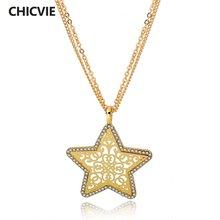 Chicvie длинные Подвески золотого цвета в форме звезды ожерелья
