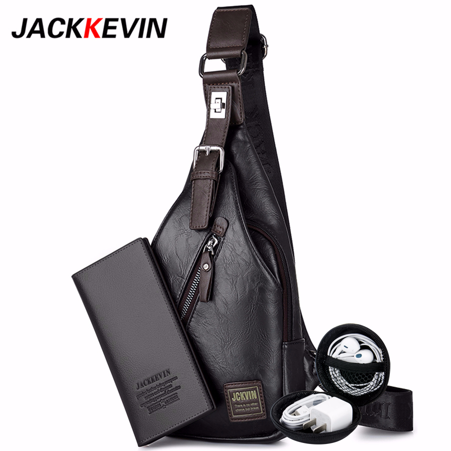 JackKevin Men's Fashion Crossbody Bag Theftproof Rotatable Button Open Leather Chest Bags Men Shoulder Bags Chest Waist Pack