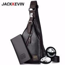 JackKevin de la moda de los hombres de bolso Theftproof giratorio botón abierto cuero pecho Hombre bolsos de hombre bolsos de hombro pecho paquete de la cintura