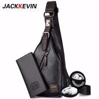 Jackkewin Мужская модная сумка через плечо Theftproof вращающаяся кнопка открытая кожаная нагрудная мужская сумка сумки на плечо нагрудная сумка