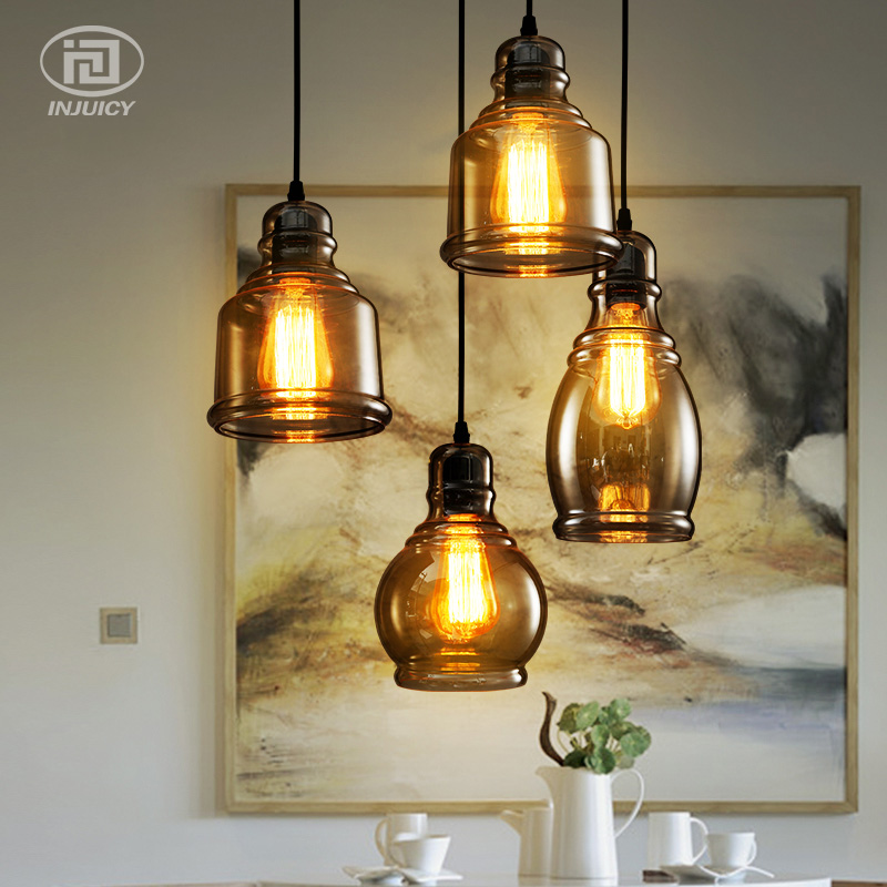 Loft Vintage Simple Industrial Pendant Lamp Nordic Wine Bottles Glass Droplight Balcony Dining Room Cafe Bar Store LED Lighting loft vintage industrial pendant light fixtures copper glass shade pendant lamp restaurant cafe bar store dining room lighting