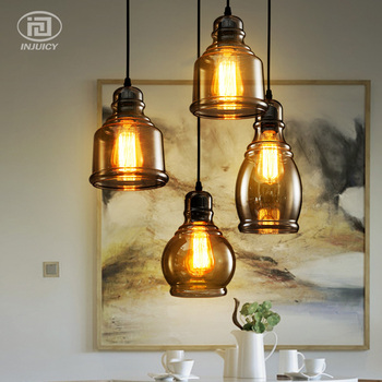 Loft Vintage Simple Industrial Pendant Lamp Nordic Wine Bottles Glass Droplight Balcony Dining Room Cafe Bar Store LED Lighting