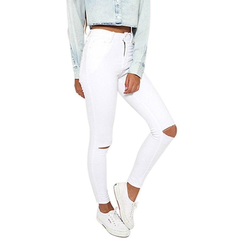 734d7a1b115 Прямо Высокая Талия Рваные Джинсы Для Женщин Осень Белый Женщины джинсы С Высокой  Талией Стильные Джинсы Женщина Плюс Размер Джинсы Femme