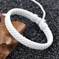 New Products Men Women Vintage Bracelet White Brown Weave Leather Rope Bracelet Adjustable Hand Bracelet Casual Jewelry LPS0005