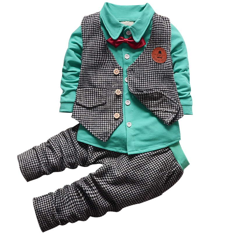 2017 Baby Boys Clothes Set Long Sleeve Plaid Gentleman Suit For Boys Children Clothing Cotton Costume For Kids Suits 3Pcs baby boys kids formal suits summer boy gentleman clothes set short sleeve shirt gray overalls trousers outfit for children