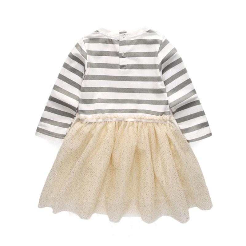 2019 Marka Kız Elbise Yeni Bahar Geyik Yıldız Çizgili Uzun kollu - Çocuk Giyim - Fotoğraf 2