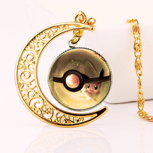 2016 New Wiccan Gold+Moon Anime Pokemon Necklaces