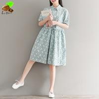 2017 Women Print Lacing Loose Expansion Bottom Short Sleeve Dress Mori Harajuku Cotton Print Floral Casual