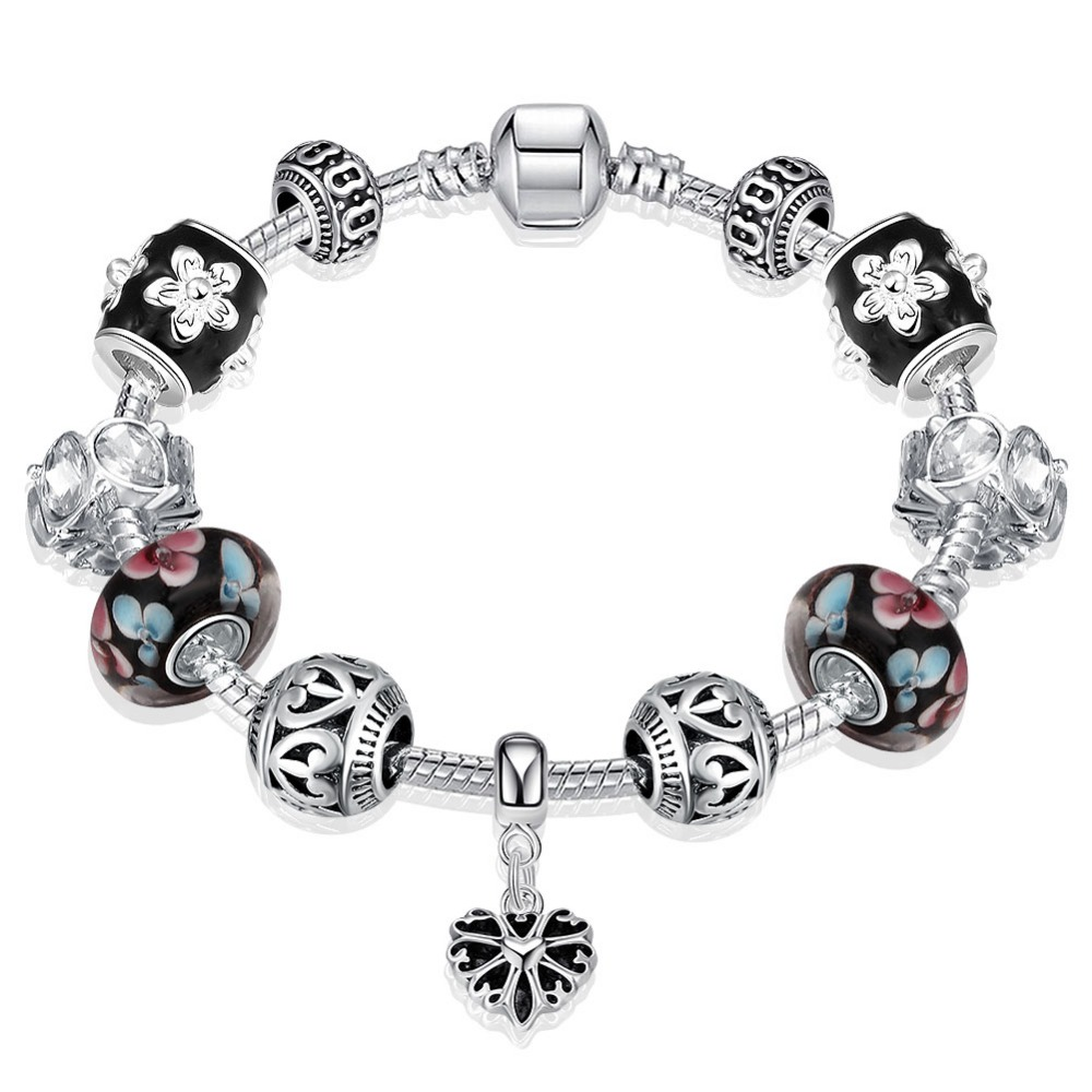 Bijoux En Argent 925 High Quality White Flower Black Glass Beads Fit Original Pandor Silver Charm Bracelet Diy Jewelry Making