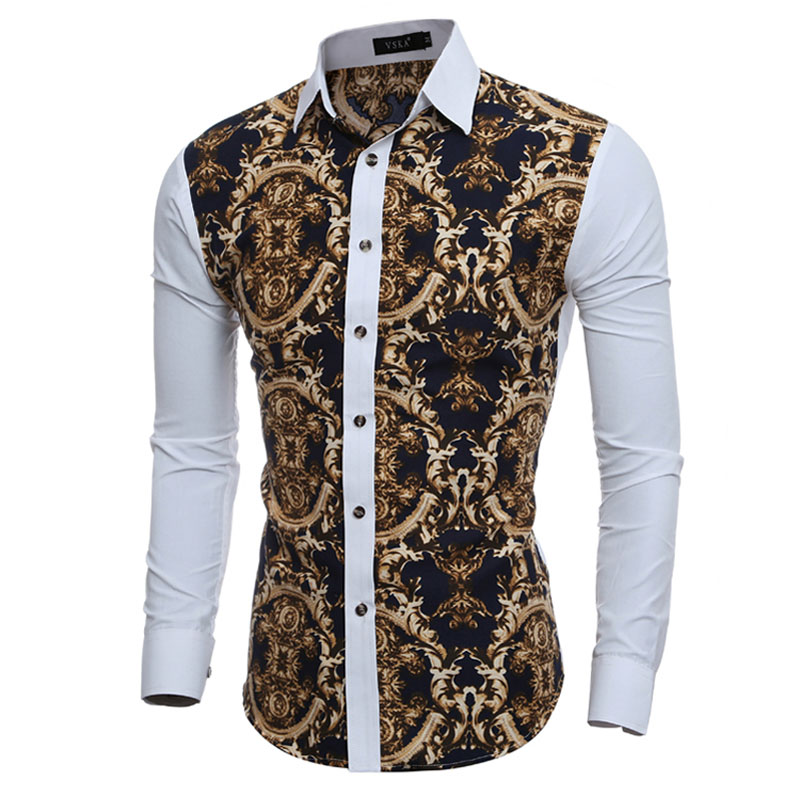 2018 Große Vintage Floral Drucke Herren Hemden Langarm Slim Fit Casual Social Camisas Masculinas Für Mann Chemise Homme