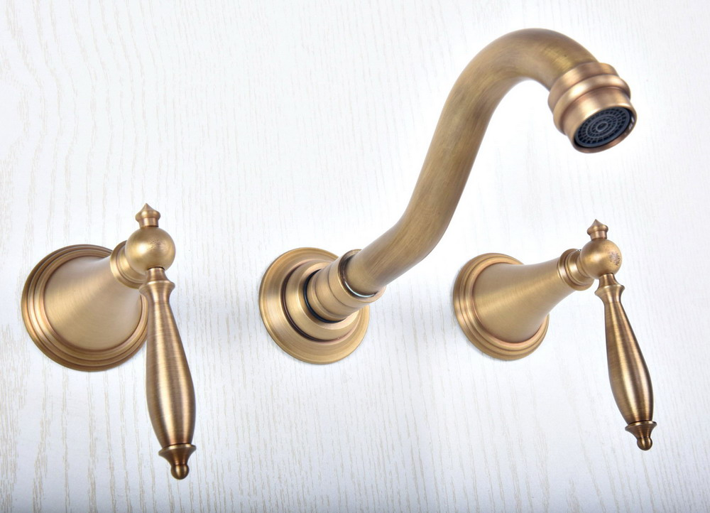 Antique Brass Widespread Wall-Mounted Tub 3 Holes Dual Levers Handles Kitchen Bathroom Tub Sink Basin Faucet Mixer Tap asf514Antique Brass Widespread Wall-Mounted Tub 3 Holes Dual Levers Handles Kitchen Bathroom Tub Sink Basin Faucet Mixer Tap asf514