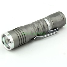 Mini Cree Q5 3 Modes 300 Lumens Zoomable Led Flashlight Torch (AAA/14500) – Gray