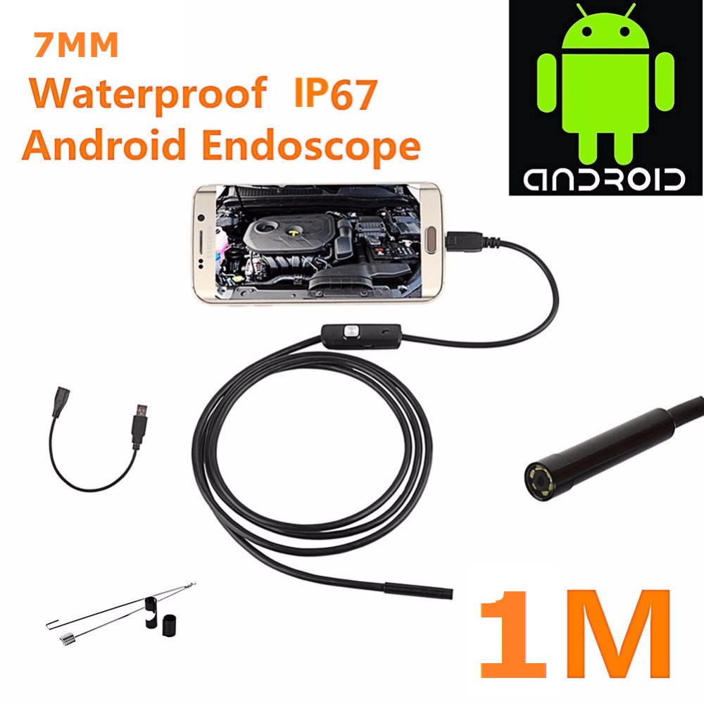 Hot Sale Special Offer 1M 7mm Lens USB Endoscope Waterproof 6 LED Inspection Borescope Tube Snake Camera For Android PC hot sale 3 5 m android 6 led 7mm lens endoscope waterproof inspection borescope camera