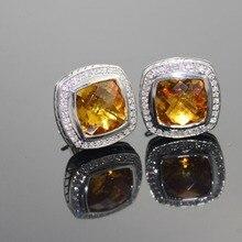 925 Sterling Silver Jewelry 11mm Earrings with Prasiolite and Diamonds Amethyst Black Onyx Blue Topaz Citrine  Garnet
