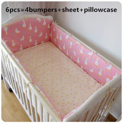 Promoção! 6 PCS Berço Jogo de Cama de Algodão Conjuntos de cama de Bebê, menino E Menina Conjuntos de Cama, Vendas Quentes, (bumpers + folha + fronha)
