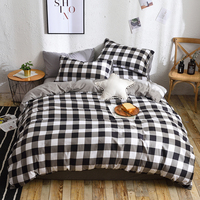High Quality Black White Plaid Brief Pattern Bedding Set Bed Linings king Duvet Cover Bed Sheet Pillowcases Cover Set 3/4pcs/set