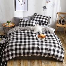 고품질 검정 흰색 짧은 패턴 침구 세트 침대 라이닝 킹 이불 커버 침대 시트 Pillowcases 커버 세트 3/4 개/대