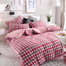ParkShin Fashion Grid luxury Bedding Set Soft Pink Duvet Cover Bedspread Pillowcase Single Double Queen King Size Bed Linens